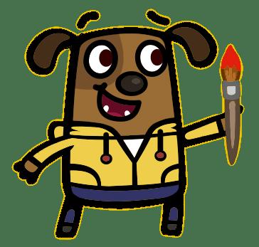 Boj Character Denzil Woof Holding A Paint Brush transparent.