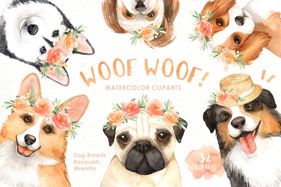 Woof Woof! Dogs Lover Cliparts ~ Illustrations ~ Creative Market.