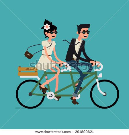 Cool vector flat design happy young man and woman characters.