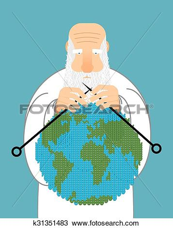 Clipart of God Making Earth. Knitting World. Establishment of wool.
