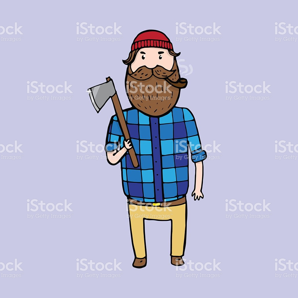 Cute Bearded Lumberjack With An Axe stock vector art 510789148.