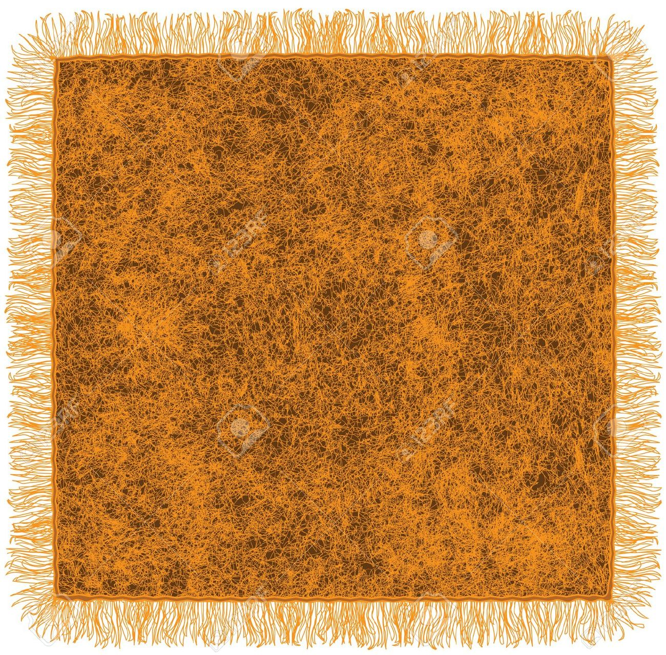 Woollen Blanket With Fringe In Orange And Brown Colors Royalty.