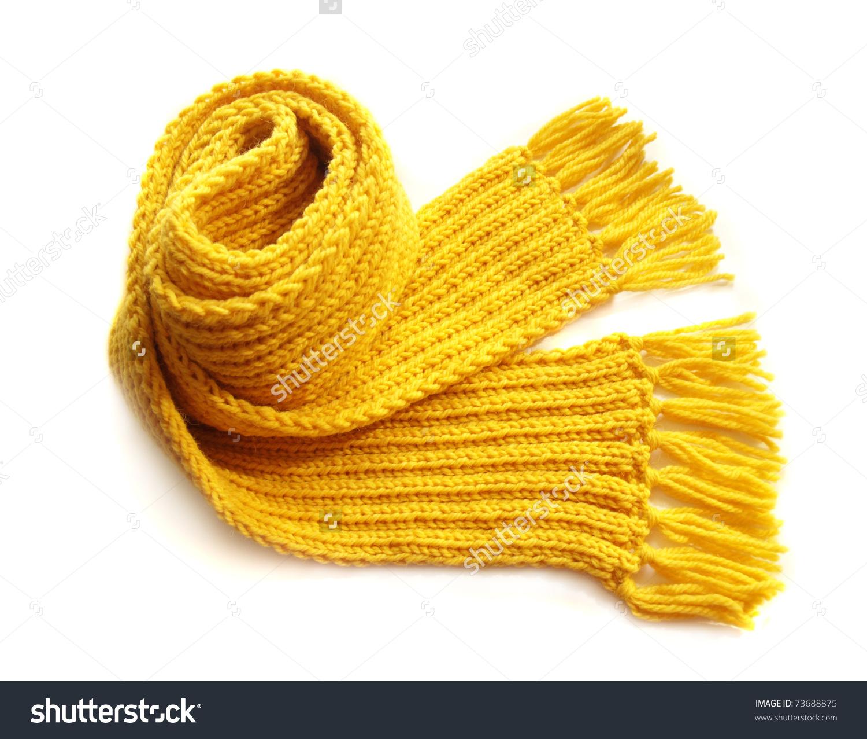 Knitted Yellow Scarf Fringe On White Stock Photo 73688875.