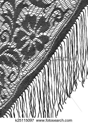 Picture of Black lace shawl, mantilla detail on white. Floral.