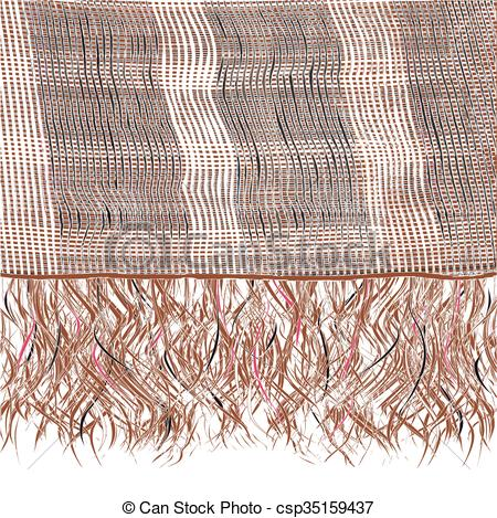 Vectors of Grunge striped knitted weave scarf with fringe in.
