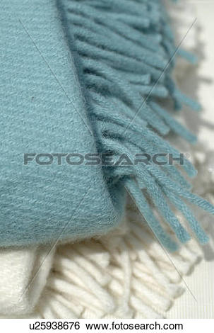 Stock Images of Two woolen blankets with fringes u25938676.