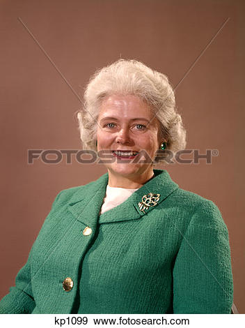 Stock Photograph of 1960 1960S Smiling Mature Senior Elderly Woman.