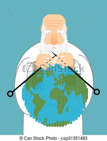 Vector of God Making Earth. Knitting World. Establishment of wool.