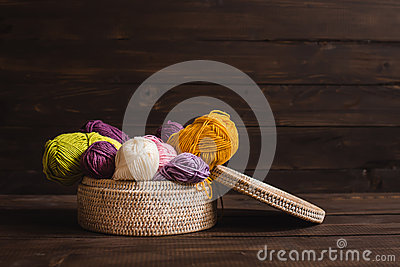 Wood Wool And Wicker Basket Royalty Free Stock Photo.