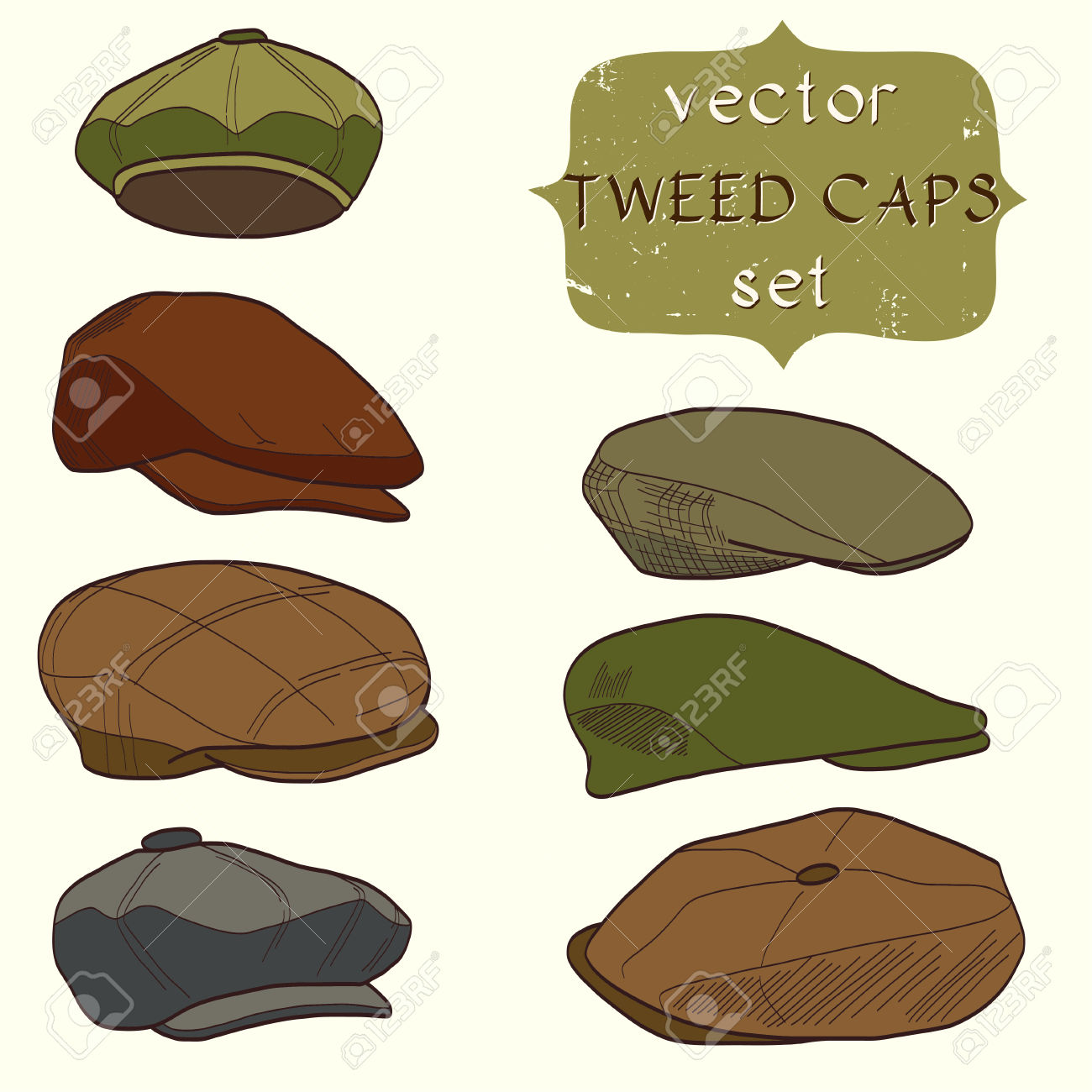 Set Of Hand Drawn Men's Tweed Caps. Fashionable Cartoon Hats.