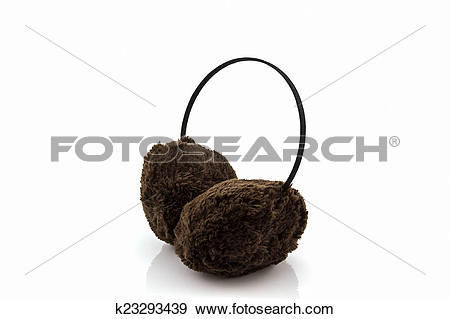 Stock Photograph of Brown fuzzy winter ear muff. k23293439.