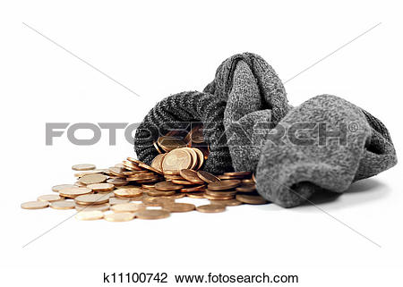Stock Photo of Coins Spill From Wool Sock k11100742.