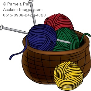 Clip Art Illustration of a Basket of Yarn With Knitting Needles.