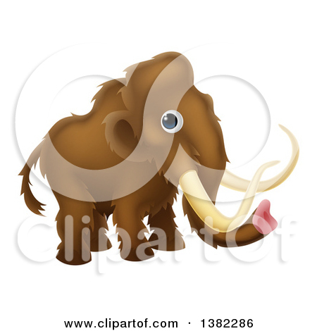 Clipart of a Cute Brown Baby Woolly Mammoth.