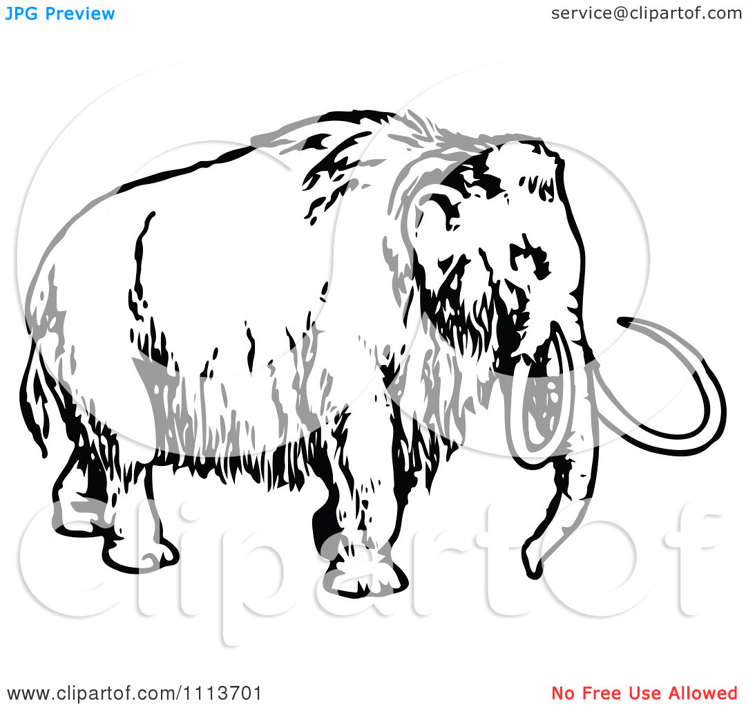 Clipart Vintage Black And White Wooly Mammoth 1.