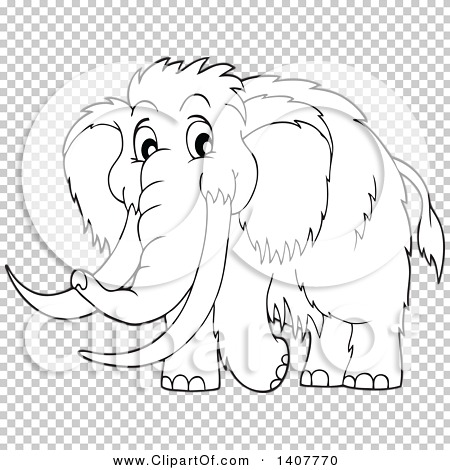 Clipart of a Black and White Lineart Happy Woolly Mammoth.