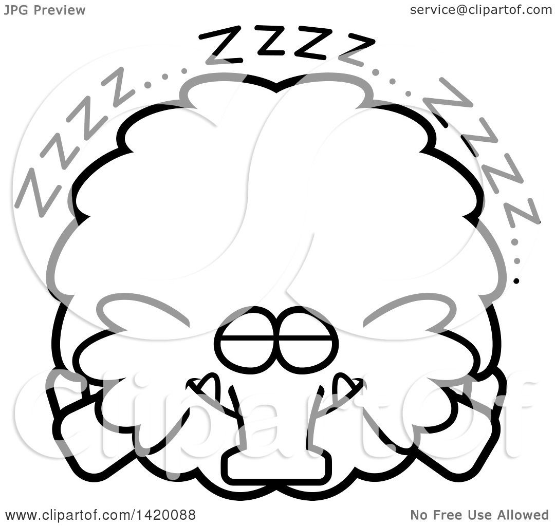 Clipart of a Cartoon Black and White Lineart Chubby Woolly Mammoth.