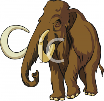 Clipart Picture of a Giant, Wooly Mammoth.