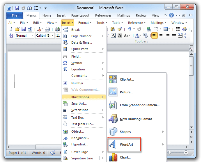Where is the WordArt in Microsoft Word 2007, 2010, 2013.