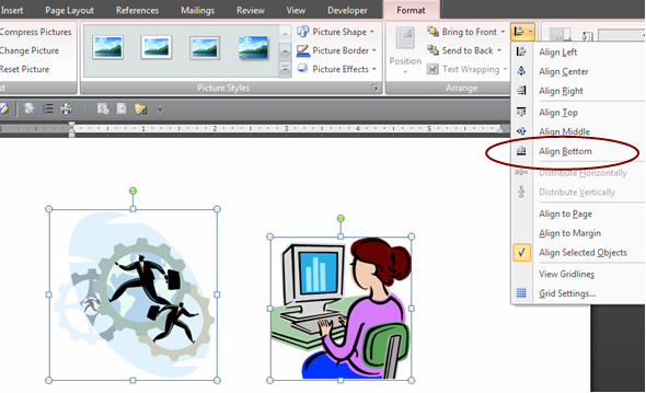 Line up your pictures in Word 2007.
