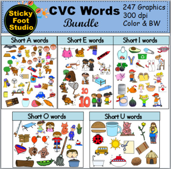 CVC Words Clip Art.