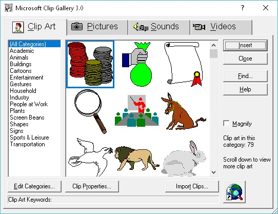 Get Clip Art (Clip Gallery 3.0) for Office 97 Working with.