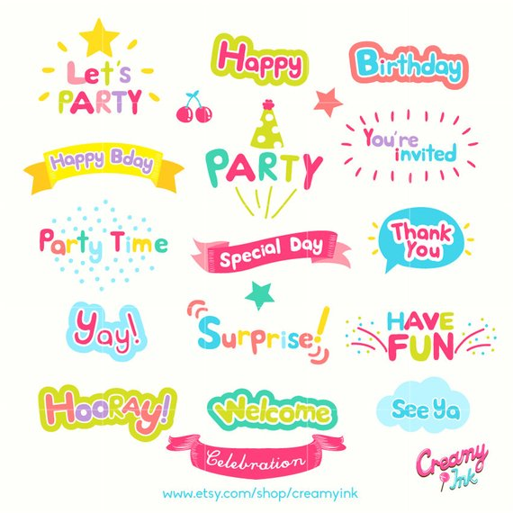 Celebration Word Art Digital Vector Clip art/Party Words.