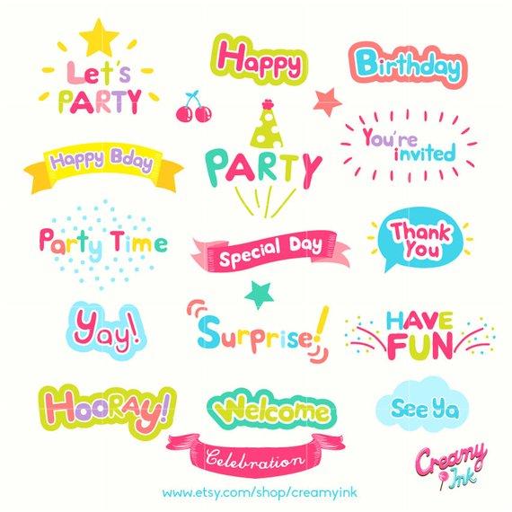 Celebration Word Art Digital Vector Clip art/Party Words.