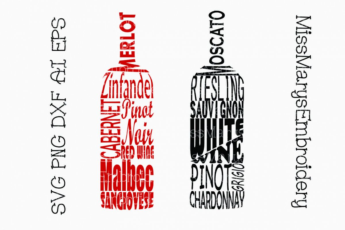Wine Bottle Word Art SVG Cutting File PNG DXF AI EPS.