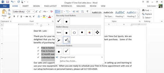 How to Change Bullet Characters in Word 2013.