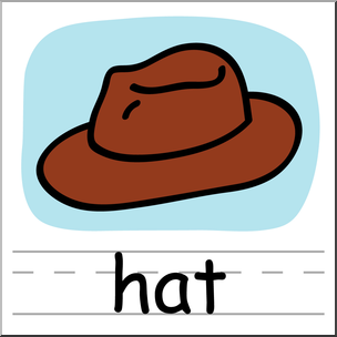 Clip Art: Basic Words: Hat 1 Color Labeled I abcteach.com.