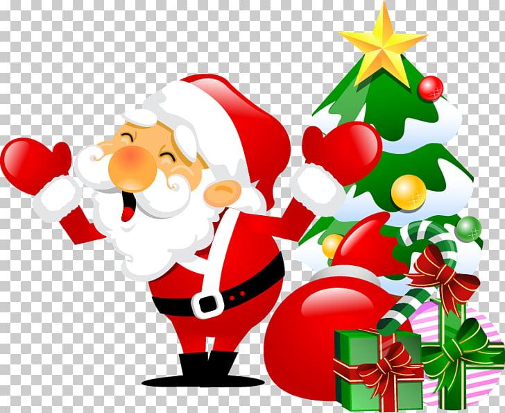 Santa Claus Christmas tree English Word, Cartoon Christmas.