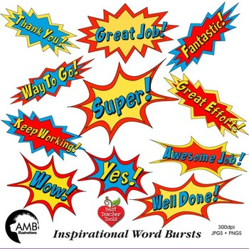 Superhero Callouts Clipart, Word Bursts, Inspirational Words, AMB.