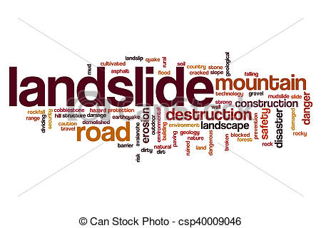 Drawing of Landslide word cloud concept csp40009046.