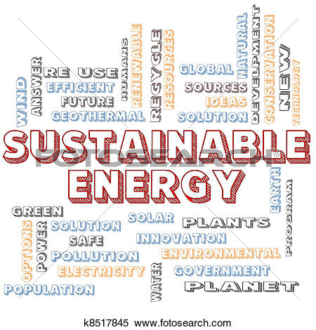 Stock Image of Sustainable Energy Blocked Word Cloud Concept.