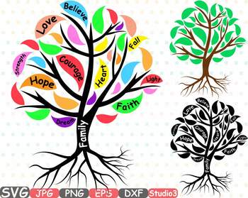 Family Tree Silhouette clipart courage faith hope love strength believe 751s.