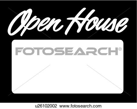 Clipart of , business signs, house, lettering, open, prefabricated.