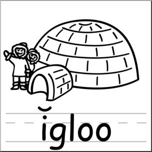 Clip Art: Basic Words: Igloo B&W Labeled I abcteach.com.