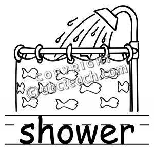 Clip Art: Basic Words: Shower B&W Labeled.