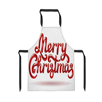 Amazon.com: Pinbeam Apron Text Merry Christmas Signature Red.