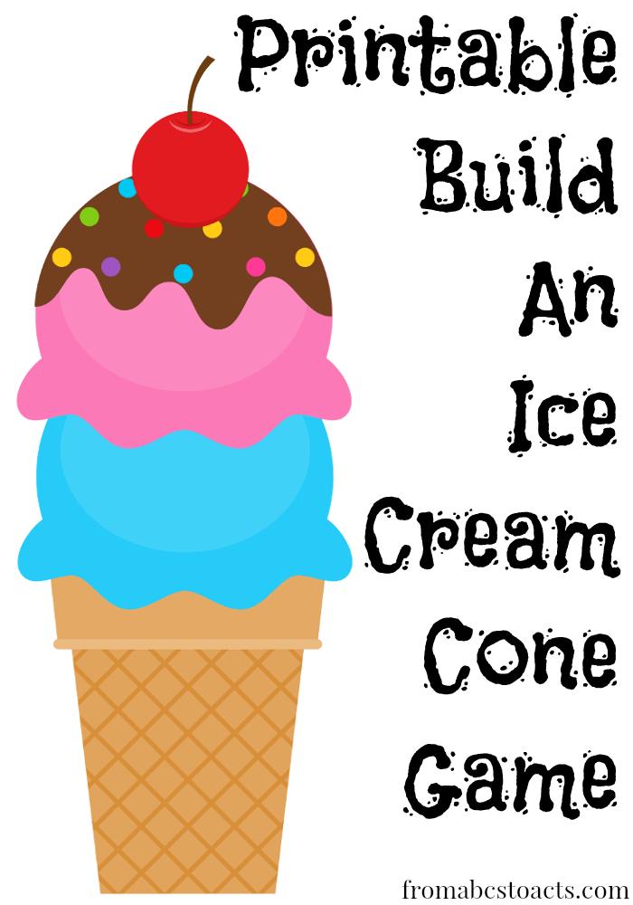 Printable Build an Ice Cream Cone Game.