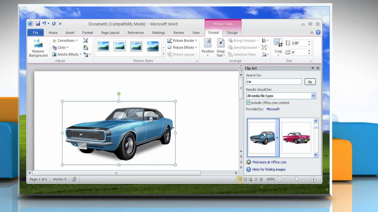 How to insert clip art in a Word file in Microsoft® Word 2010 on Windows® XP.