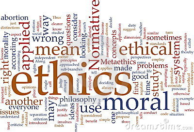 Ethics Word Cloud Royalty Free Stock Photos.