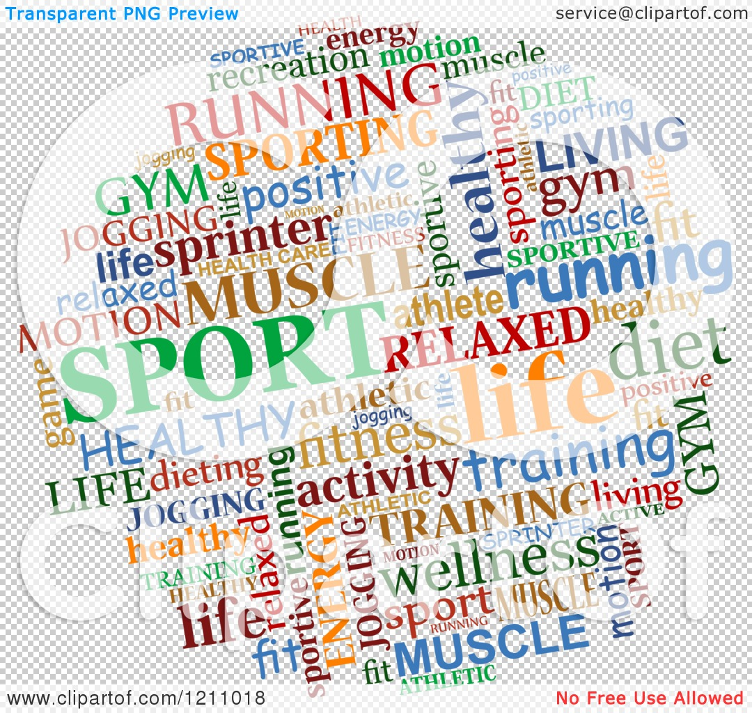 Clipart of a Colorful Sports Word Collage.