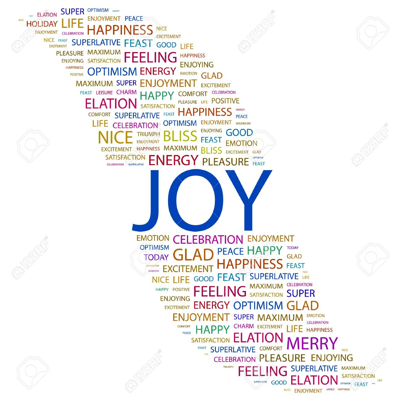 JOY. Word Collage On White Background. Illustration. Royalty Free.