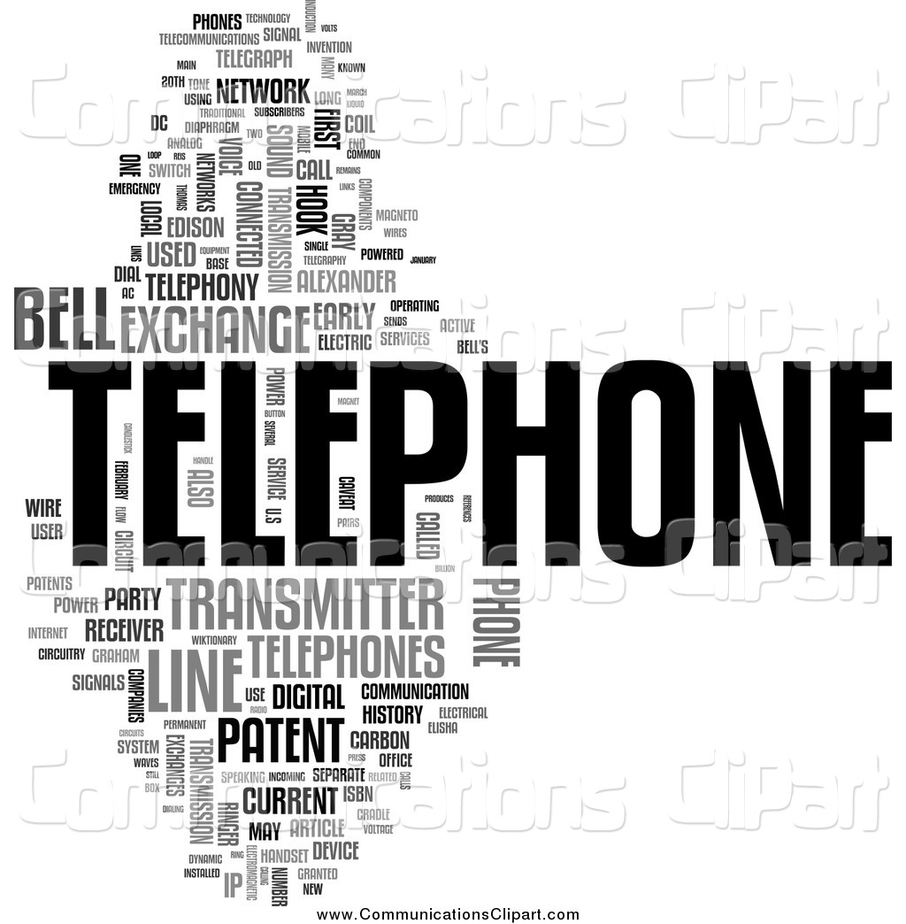 Communication Clipart of a Telephone Word Collage by MacX.
