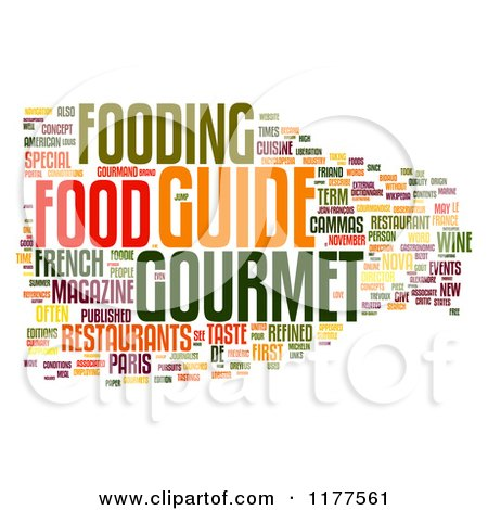 Clipart of a Grayscale Gourmet Food Word Collage on White.