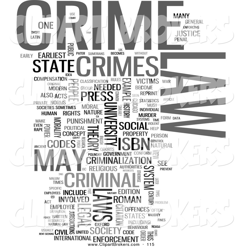 Clip Art of a Crime Word Collage on White by MacX.