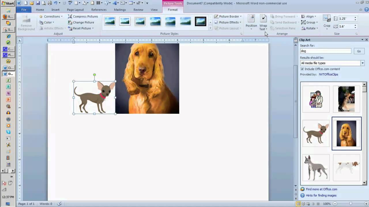 Adding Clip Art to a Word Document.