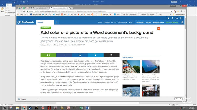 How to add colors or images to the background of your Word documents.